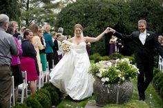 Oatlands Historic House & Gardens- Outdoor garden wedding ceremony on the boxwood parterre. Kristen Gardner Photography.