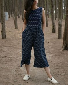 Blue and white handwoven ikat jumpsuit by threeness the secret label Casual Indian Fashion, Indian Fashion Dresses, Indian Designer Outfits, Girls Fashion Clothes, Fashion Outfits, Indian Outfits, Girl Outfits, Short Frocks, Casual Frocks