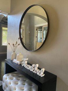 Review photo 2 Big Round Mirror, Round Mirrors, Entry Mirror, Mirror Mirror, Narrow Entryway, Hanging Bar, Beautiful Mirrors, Ballard Designs, Ava