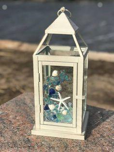 Medium Beach Glass Lantern with Shells and Starfish Glass Art