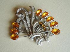 Massive Eisenberg Original Fabulous Golden Topaz 1930s Brooch PIN Signed | eBay