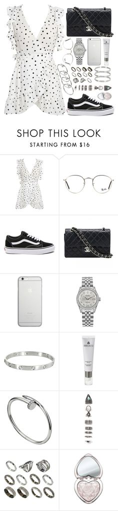 """inspired coffee run outfit"" by crisarranz ❤ liked on Polyvore featuring WithChic, Ray-Ban, Vans, Chanel, Native Union, Rolex, Cartier, Borghese, Nasty Gal and ASOS"