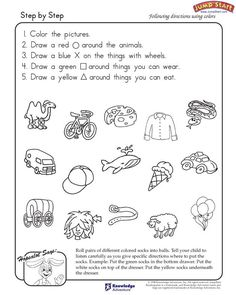 Step By Step – Critical Thinking and Logical thinking Reasoning Worksheets for Kids – JumpStart 1st Grade Worksheets, Kindergarten Worksheets, Printable Worksheets, In Kindergarten, Free Printable, Kids Worksheets, Listening And Following Directions, Following Directions Activities, Speech Language Therapy