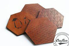 Third Anniversary, Leather Coasters, Geometric Coasters, Honeycomb, Mug Rug, Penguin, Made in Scandinavia, Coffee Coasters,Beverage Coasters