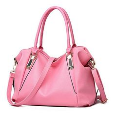 Bidear TM Zippered Soft Cowhide Leather Tote Shoulder Bag Women Tophandle Crossbody Handbag Purse Messanger Casual Handbag pink ** Read more  at the image link.