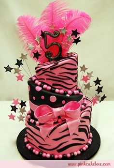 Click to enlarge 5th Topsy Turvy Hot Pink Zebra Print Cake
