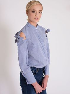 Dahlia Ethel Blue Thin Stripe Blouse with Tie Shoulder