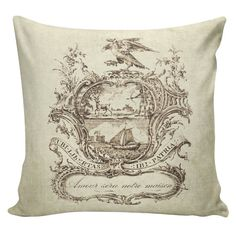 Pillow Paris French Country Illustrated Plate with Love Will Be Our Home Burlap…