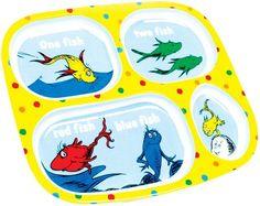 Bumkins Dr. Seuss Melamine Plates - One Fish   Free Shipping