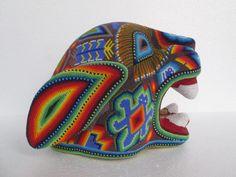 HUICHOL JAGUAR tiger panther beaded art mexican handmade colorful folk art