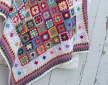 Crochet Baby Blanket Handmade Afghan Bright Colors Granny Square