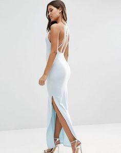 3152c8c8f985 ASOS - Maxi robe dos nu avec bretelles fantaisie dans le dos Robe Bleue