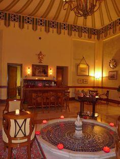 Cosy and legendary Polo Bar at Taj Rambagh palace hotel, Jaipur, Rajasthan, India