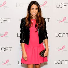 Nikki Reed Plays With Opposites — Hot-Pink Dress and a Leather Jacket