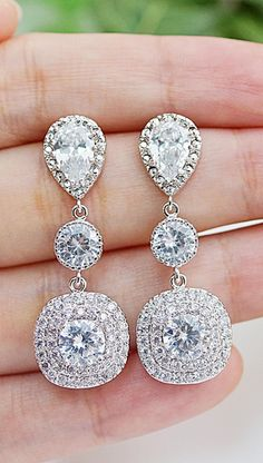 Luxe cubic zirconia bridal Earrings from @earringsnation