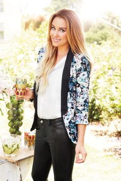 LC Lauren Conrad fall collection {floral tuxedo blazer and faux-leather pants}