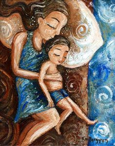 brown hair, son, toddler, sleep, hold on, belly, shorts, blue dress, nightgown, red bed, warm and cool, swirls, primal, family bed, nap, white pillow, falling off bed, mother and child, attachment parenting, sleeping woman, sleep child