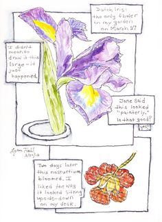 """""""Flower Experiment"""": watercolor, pitt pen, tombow, and collage"""