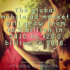 The global mobile ad market will grow from $3.4 billion in 2010 to $22.0 billion in 2016.