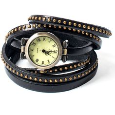 Collections by Hayley Studded Black Leather Wrap Watch ($32) ❤ liked on Polyvore featuring jewelry, watches, black, wrap watches, wrap strap watch, wraparound watches, leather watches and leather wrist watch