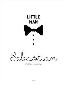"""NYHET! """"Little Man"""" Fødselsplakat med navn og sløyfe"""