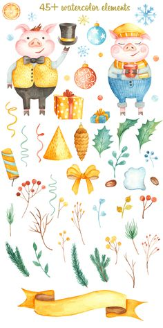 Christmas collection by Marina Ermakova on Christmas Toys, Christmas Design, Christmas And New Year, Merry Christmas, Watercolor Illustration, Graphic Illustration, Pig Png, New Year Designs, Cute Pigs