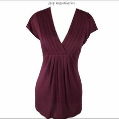 Cute wine pleated v-neck top Like new condition short sleeve burgundy wine top with pretty deep v-neck. Mossimo Supply Co. Tops