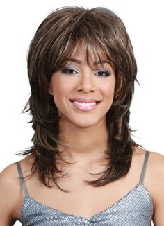 Wigs, Human Hair Wigs, Hair Extensions and Hairpieces Medium Layered Haircuts, Medium Hair Cuts, Medium Hair Styles, Curly Hair Styles, Wig Hairstyles, Straight Hairstyles, Bobbi Boss Wigs, Beauty Hair Extensions, Sophisticated Style