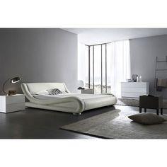Hugo Modern Designer Italian White Faux Leather Bed