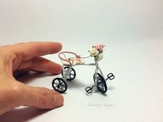 Miniature tricycle. Dollhouse tricycle. Shabby chic tricycle.