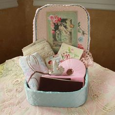 French Cottage Boutique | Lovin' the whatnot, especially this little bisque basket pincushion!