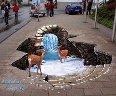 Dibujos 3D del artista callejero Nikolaj Arndt.