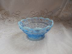 Vintage Pale Milk Blue Opalescent Glass Nappy Bowl Candy Dish, Lattice Edge, Lace Trim Rim, French Cottage Chic, Shabby Home Decor by RascalsRarities on Etsy