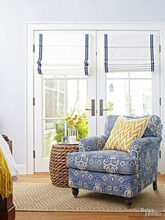 Roman shades for French Doors CUSTOM roman shade navy blue stripe colors roman shade bedroom roman blinds window french ticking shade blue French Door Windows, Sliding French Doors, Double Doors, Door Coverings, Door Window Treatments, French Door Window Coverings, Blinds For Windows, Windows And Doors, Window Blinds