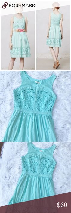 "Anthropologie Meadow Rue ""Bottlegreen"" Dress Excellent used condition, Meadow Rue for Anthropolgie min green Eyelet dress. Style name is ""bottlegreen"". Size 10. This dress is gently worn, very very light pilling in one spot under each arm and very lightly discolored, other than that in great condition and this isn't noticeable when worn. Fully lined. 100% cotton. Concealed side zipper and pockets! Length - 39"", bust - 19"". (Color closest to stock photo) Anthropologie Dresses"