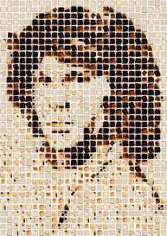 Large-scale portraits of pop culture icons with hundreds of pieces of toast by photographer Henry Hargreaves