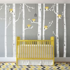 Birch Tree with Owl Wall Decal
