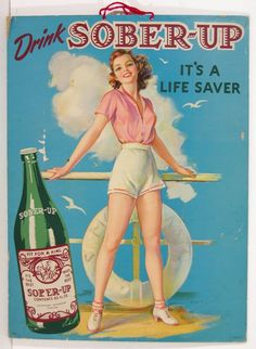 1940's SOBER UP SODA / HANGOVER CURE ADVERTISING POSTER PIN UP GIRL BY ERBIT