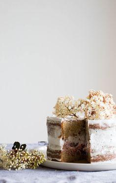 ... rhubarb, hibiscus & whipped coconut cream layer cake (vegan/egg-dairy-nut-free) ...