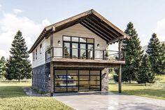 Modern Rustic Garage Apartment Plan with Vaulted Interior - Architectural Designs - House Plans Garage Apartment Plans, Garage Apartments, Garage Plans, Car Garage, Garage Doors, Sliding Doors, Small Garage, Garage Cabinets, Barn Plans