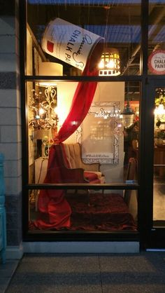 Inspired to promote painting upholstery with #chalkpaint our own Becky Moore created this window display @artworksnw