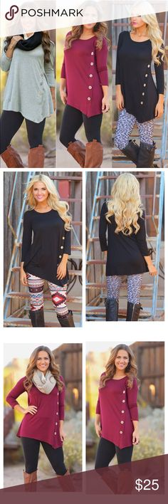 ON SALE!! Long sleeve button top, aval in 3 colors Available in the gray, black and burgundy Tops