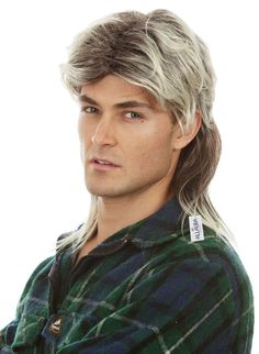 Halloween 80/'s Blonde MULLET JASON WIG FANCY DRESS Pop Star HILL BILLY Costume