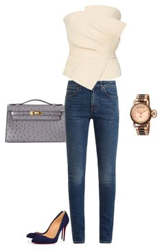 """""""5 II 2018"""" by dolce89 ❤ liked on Polyvore featuring Yves Saint Laurent, Yeon, Christian Louboutin and Hermès"""