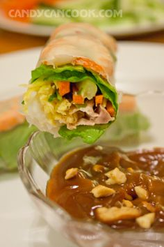 Spring Rolls - wrap up the old year _ Mixed with peanut butter sauce and Hoisin sacue.
