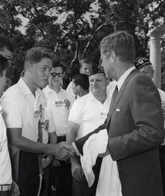A teenage Bill Clinton shaking the hand of President John F. Kennedy in Washington D.C. 1963