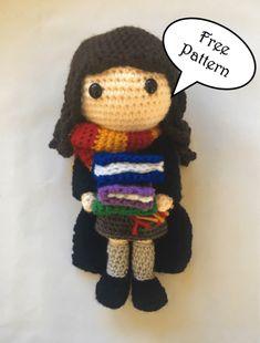 Crochet Dolls Designs Free Hermione Granger Amigurumi Pattern (Crochet) - Daisy and Storm Harry Potter Free, Harry Potter Crochet, Harry Potter Dolls, Crochet Daisy, Diy Crochet, Crochet Crafts, Crochet Dolls, Crotchet Patterns, Crochet Headband Pattern
