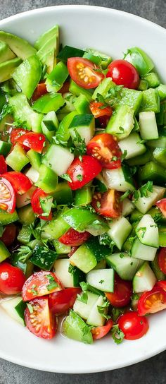 This delicious and healthy Tomato Cucumber Salad recipe is ready in minutes! A quick and easy side dish it's light, fresh, and full of flavor! This easy peasy recipe is Vegetarian   Vegan   Paleo   Whole30   Keto Cucumber Avocado Salad, Avocado Salad Recipes, Chicken Salad Recipes, Spinach Salad, Paleo, Vegan Vegetarian, Great Recipes, Vegan Recipes, Cooking Recipes