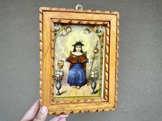 Vintage Framed Santo Nino de Atocha in Carved Wood Frame, Mexican Religious Decor, Holy Infant