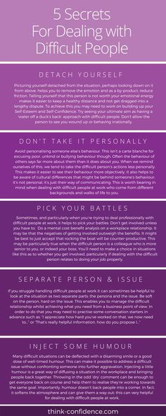 Ways to deal with people you find difficult at work or socially. Practical tips to use straightaway when you lack confidence. #selfconfidence #confidence #selfesteem #infographic